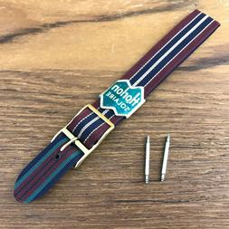 16mm 1960s Reversible Perlon Vintage Watch Band Regimental D