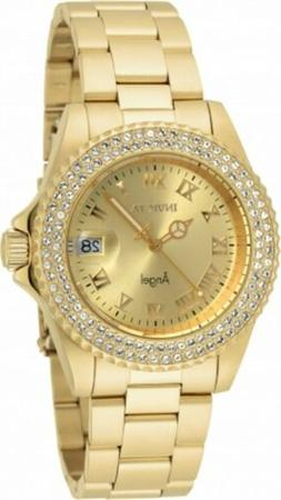 Invicta 19513 Lady's Gold Tone Dial Yellow Gold Crystal Dive