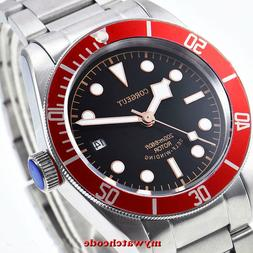 41mm CORGUET black dial Sapphire Glass date miyota Automatic