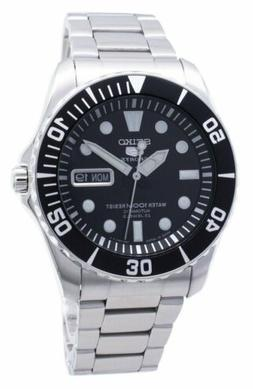 Seiko 5 Sports Black Dial Stainless Steel Silver Automatic M