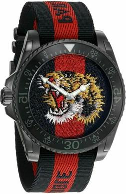 YA136215Gucci Dive Blue Red Web Dial Tiger Embroidery Nylon