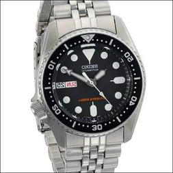 Seiko Black 21-Jewel Automatic Dive Watch, Stainless Steel B