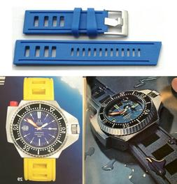 Blue Silicone Rubber Waterproof Watch Strap. 1970's Vintage
