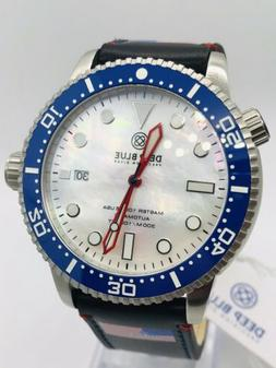DEEP BLUE M1K USA 44MM DIVE WATCH-CERAMIC BEZEL- WHITE MOTHE