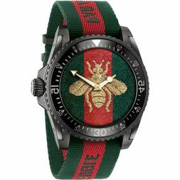 Gucci Dive Bee Embroidered Dial Men's Watch Nylon Strap Men'