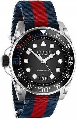 Gucci Men's Dive Black Dial Blue/Red Nylon Strap Swiss Quart