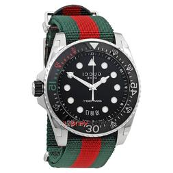 Gucci Dive Black Dial Green and Red Nylon Men's Watch-YA1362