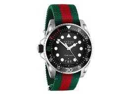Gucci Dive Black Dial Red and Green Nylon Men's Watch YA1362