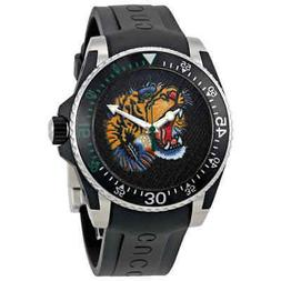 Gucci Dive Embroidered Tiger Motif Dial Men's Watch YA136318