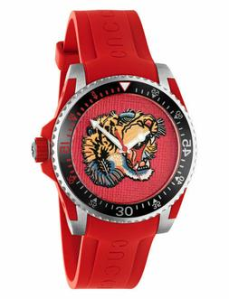 Gucci Dive Rubber Red Tiger Head Dial Quartz Men's Watch YA1