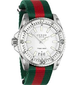 GUCCI Dive Silver Dial Red and Green Nylon 45mm Men's Watch