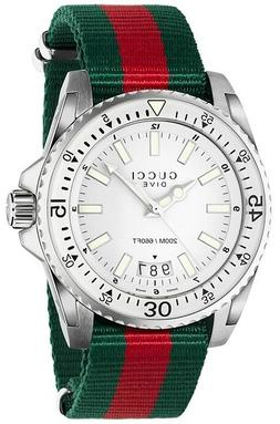 GUCCI Dive Silver Dial Red and Green Nylon Men's Watch YA136