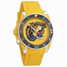 Gucci Dive Yellow Embroidered Tiger Dial Men's Watch YA13631