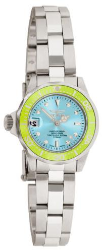 Invicta 11438 Women's Pro Diver Green Bezel Blue Dial Steel