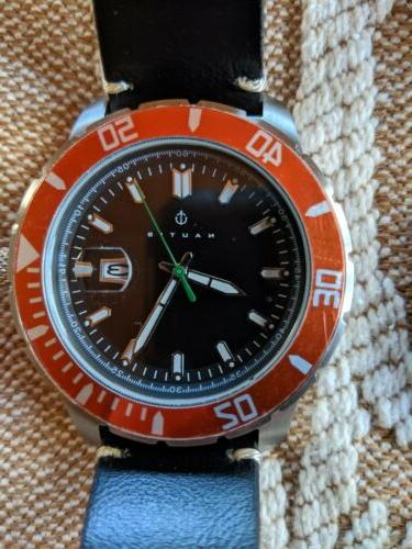 NAUTIS - watches ..Dive Pro GL1909-G Quartz-Black/Green Watch-black/orange