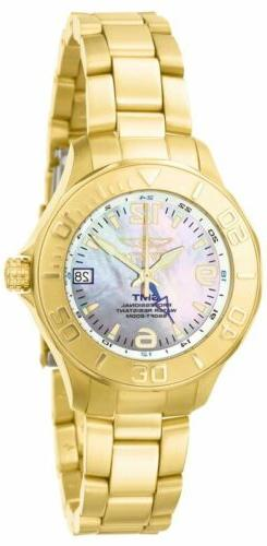Invicta 6891 Women's MOP Dial Yellow Gold Steel GMT Dive Wat