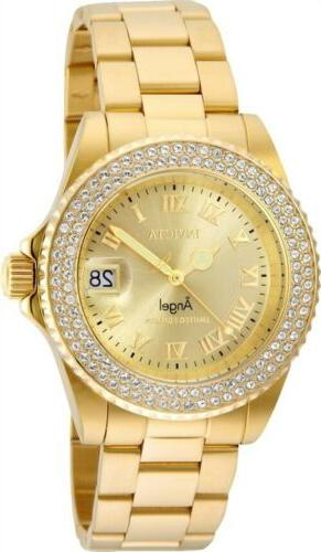 Invicta 24614 Women's Gold Dial Yellow Steel Crystal Dive Wa