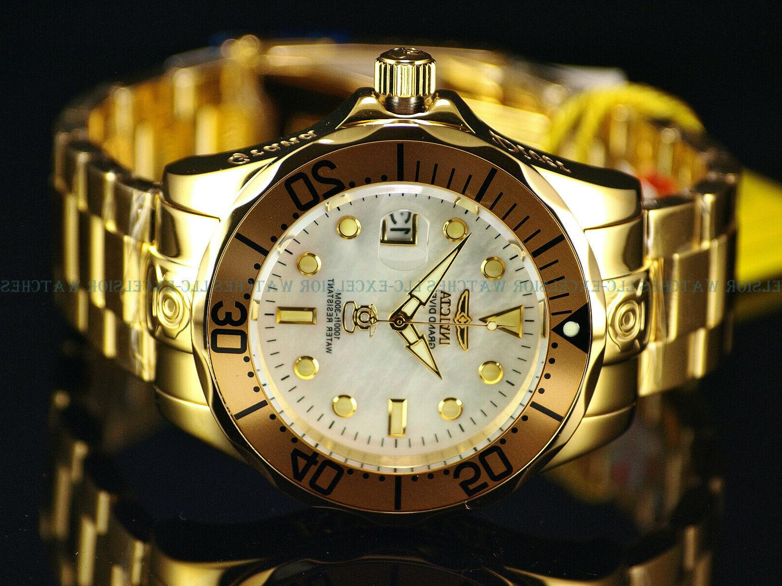 New Invicta Men Grand Diver NH35A Automatic 18K Gold IP Polished