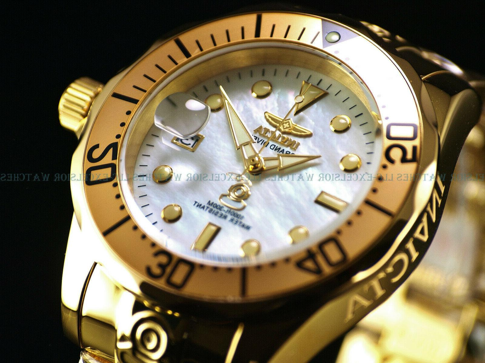 New Invicta Men 300M Grand Diver NH35A Automatic 18K Gold IP
