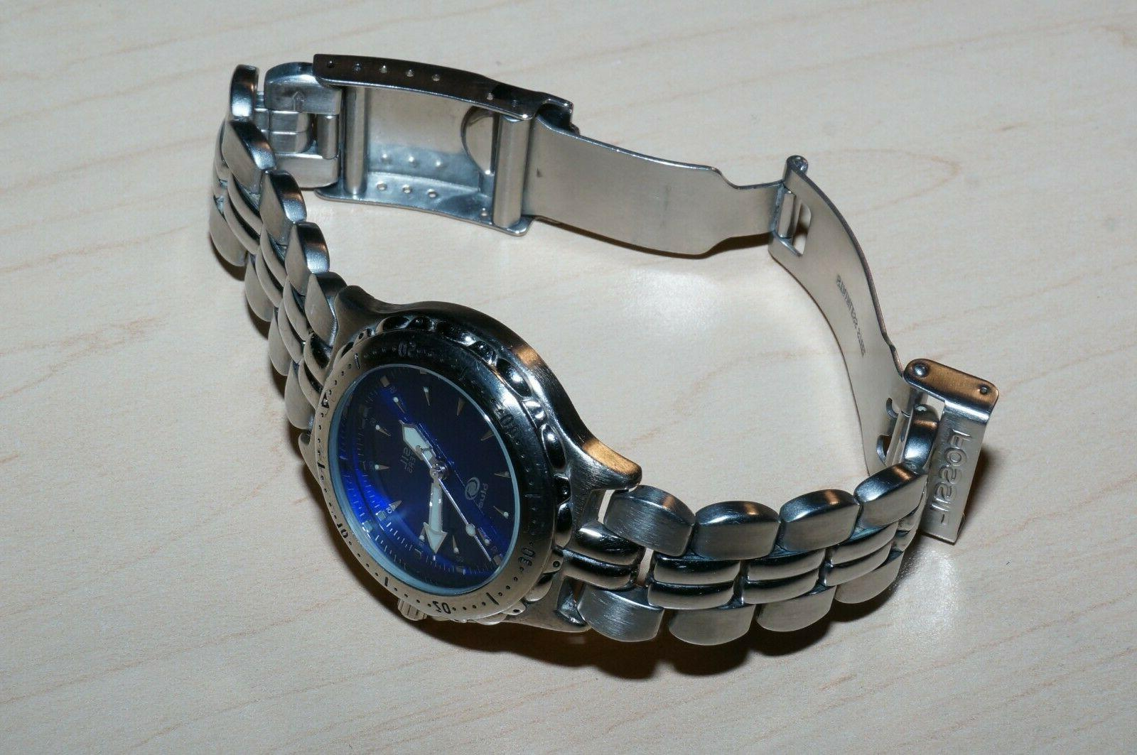 Fossil Blue stainless steel dive-themed watch