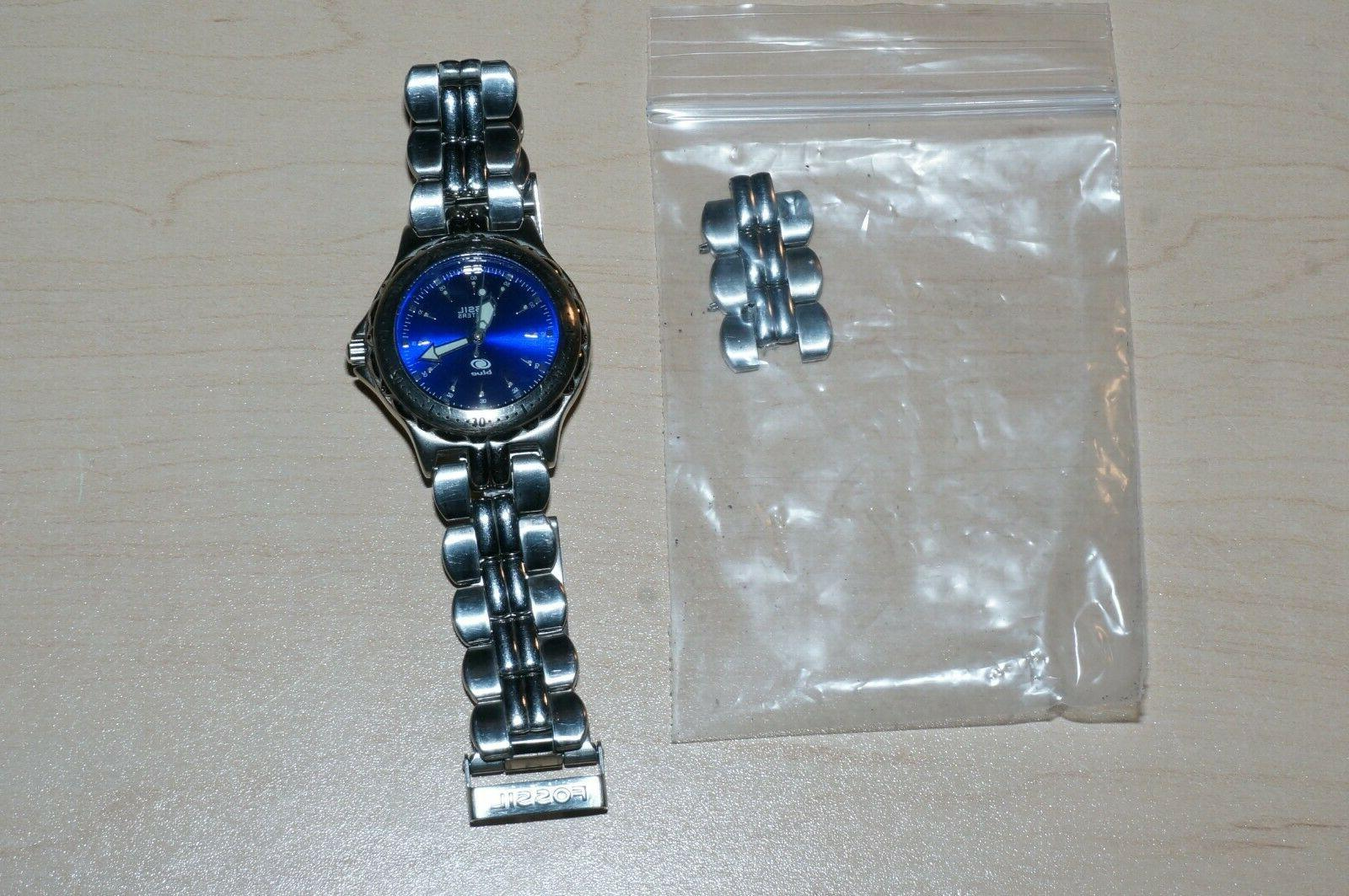 Fossil Blue stainless dive-themed