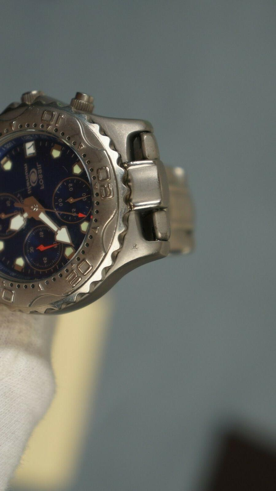 """Fossil Blue 200M chronograph dive new battery 6 3/4"""" wrist"""