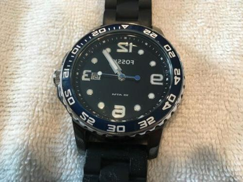 Fossil Large Men's Ceramic-Dial Silicone Rubber Diving
