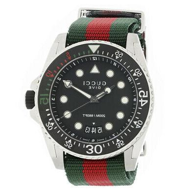 dive black dial green and red nylon