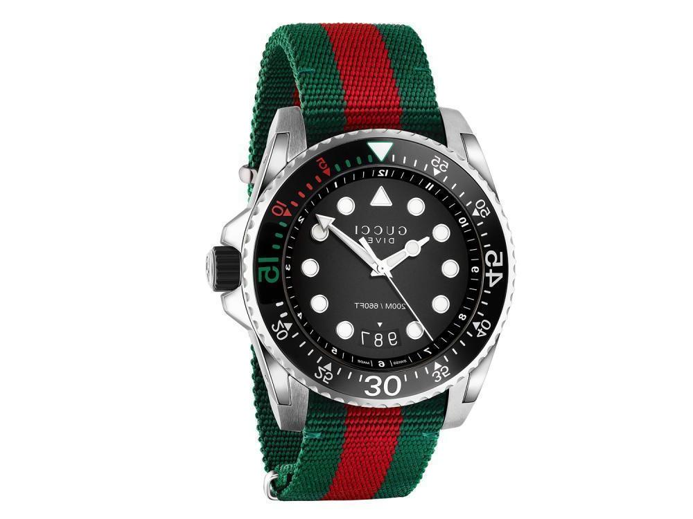 dive black dial red and green nylon