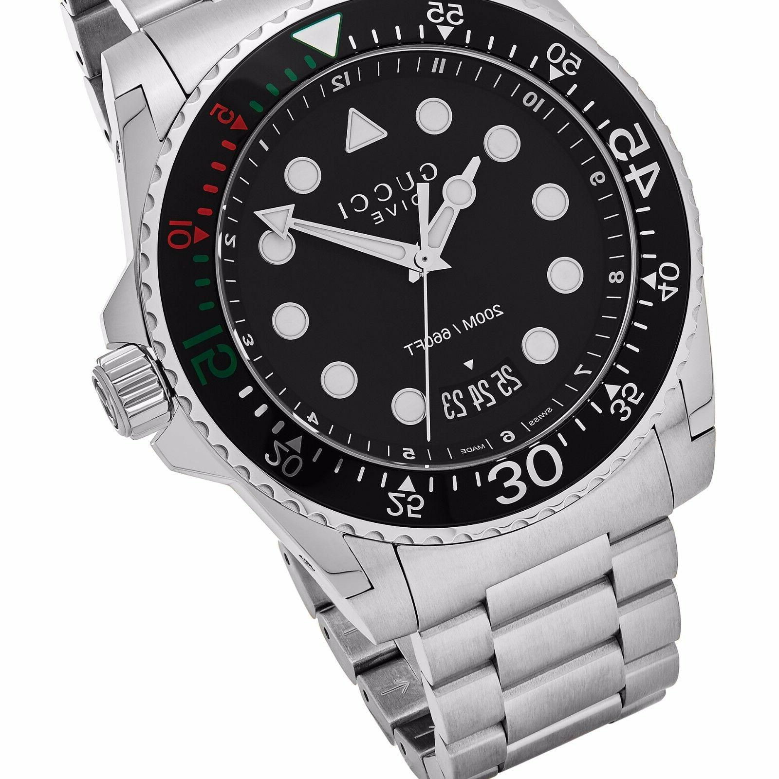 Gucci Men's Dive Black Dial Stainless Steel Quartz Watch