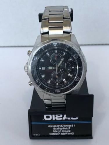 dive style stainless steel chronograph watch silver