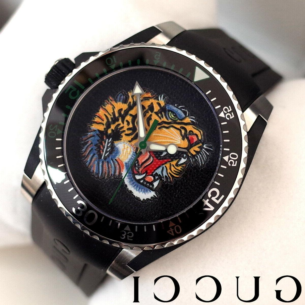 dive watch embroidered tiger motif dial men