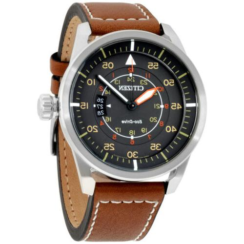 Citizen Eco-Drive Leather Strap Watch Date,