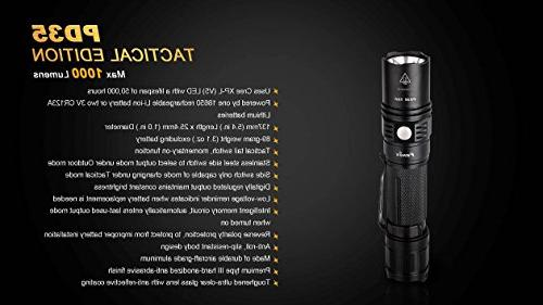 Fenix 1000 Lumen XP-L LED Tactical Flashlight with Two EdisonBright