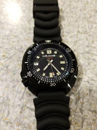 Detroit Mint Matte Black Diver Automatic Watch