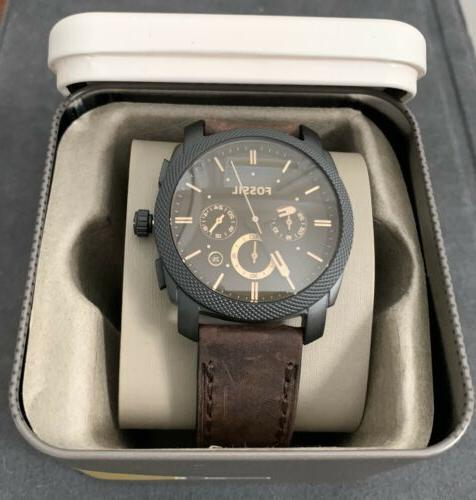 FOSSIL Machine Brown Leather Men's Watch FS4656