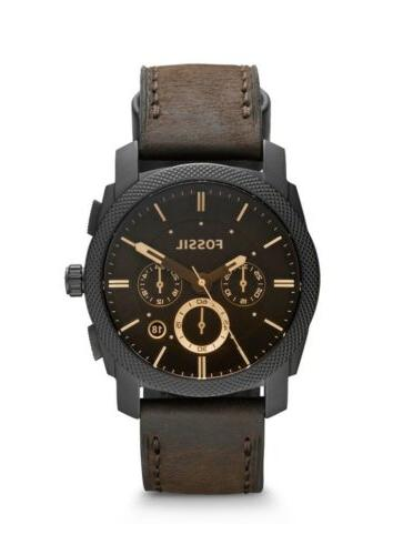 machine mid size chronograph brown leather mens