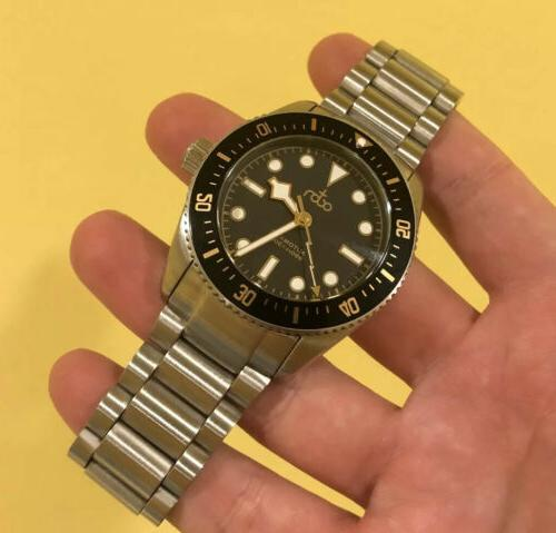 mens automatic dive watch 300m black gilt