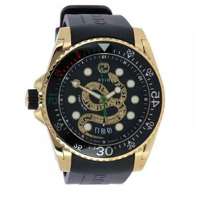 new dive black dial gold tone rubber