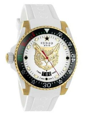 new dive white dial gold tone rubber