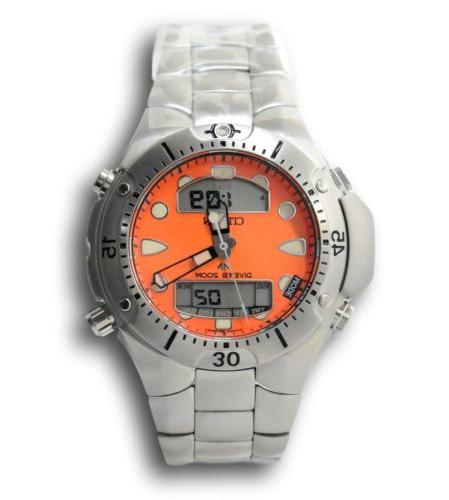 promaster aqualand men s orange stainless quartz