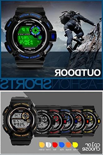 Fanmis Multi Digital LED Quartz Watch Water Resistant Sport Watches