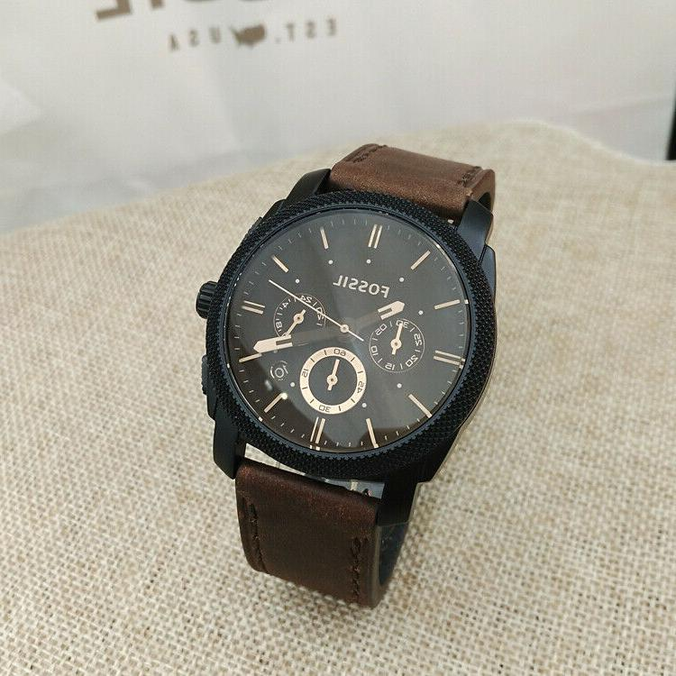 Fossil Man's Mid-Size Chronograph Leather Black FS4656