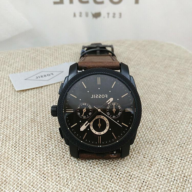 Fossil Watch Mid-Size Chronograph Leather Black FS4656