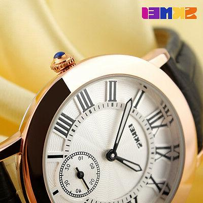 SKMEI Fashion Casual Leather Watches Roman Numerals