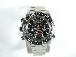 MENS BULOVA STAINLESS STEEL DIVE WATCH W/ BLACK FACE & 4 CHR