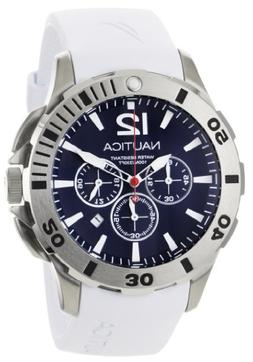 Nautica Men's N16568G BFD 101 White Resin and Blue Dial Watc