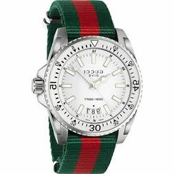 New Gucci Dive Silver Dial Red and Green Nylon Band  Men's W