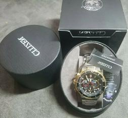 NEW W/tags Citizen Eco-Drive 46mm Mens black gold & steel Ch