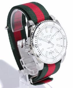 NWT in Box Gucci Dive Silver Dial Red and Green Nylon 45mm M